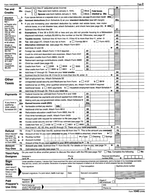 irs 1040a 2009 image search results For1040a 2009 Tax Table