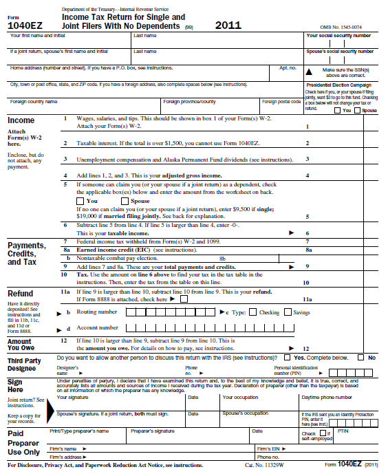 1040ez Tax Form Instructions 2014