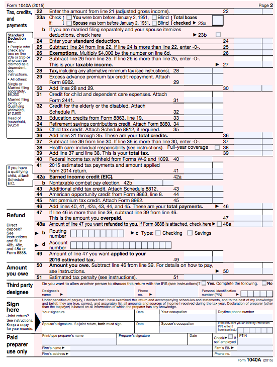 State Income Tax Forms 2015 Free Printable 1040ez 1040a